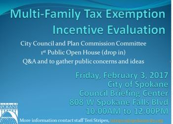 Feb 3 Open House re multi-family tax exemption incentive evaluation