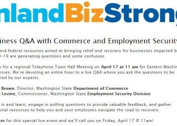 E WA Business Q&A with Commerce and  Employment Security  Telephone Town Hall - April 17
