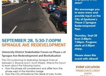 University District presents Phase 2 Sprague revitalization neighborhood forum - September 28