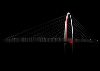 University District Gateway Bridge - Architectural Lighting Rendering - White Flood Lights