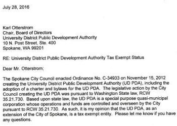 City of Spokane re UDPDA Tax Exempt Status