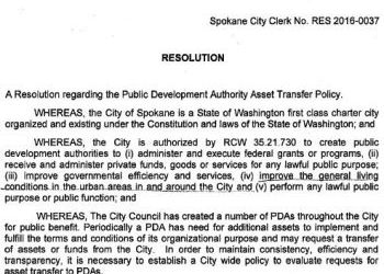 City of Spokane Resolution regarding Public Development Authority Asset Transfer Policy