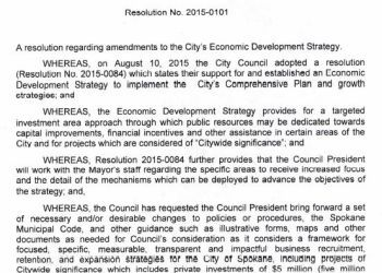 City of Spokane Resolution regarding amendments to the City's Economic Development Strategy including projects of citywide signifiance