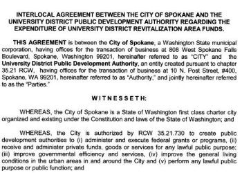City of Spokane Interlocal Agreement - UDPDA