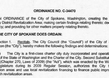 City of Spokane Ordinance No C-34470 creating the University District Revitalization Area (UDRA)