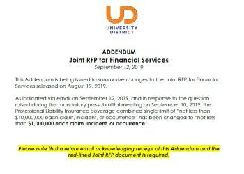 Addendum to UDDA/UDPDA Joint Financial Services RFP