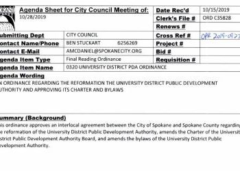 Ordinance C35828 UDPDA Restructuring - Including Amended Bylaws and Charter