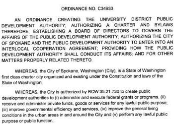 City of Spokane Ordinance No C-34933 creating the University District Public Development Authority