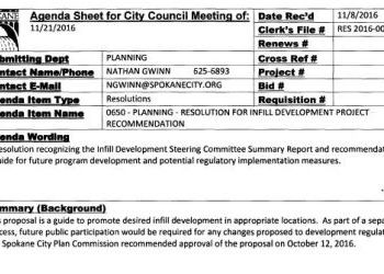 City of Spokane Resolution for Infill Development Project Recommendation