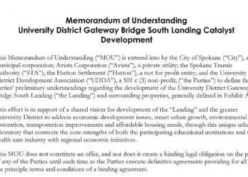 Memorandum of Understanding: University District Gateway Bridge South Landing Catalyst Development