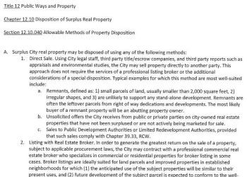 City of Spokane Disposition of Surplus Real Property policy