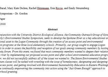 UD Ecological Alliance + Gonzaga University Community White Paper Proposal